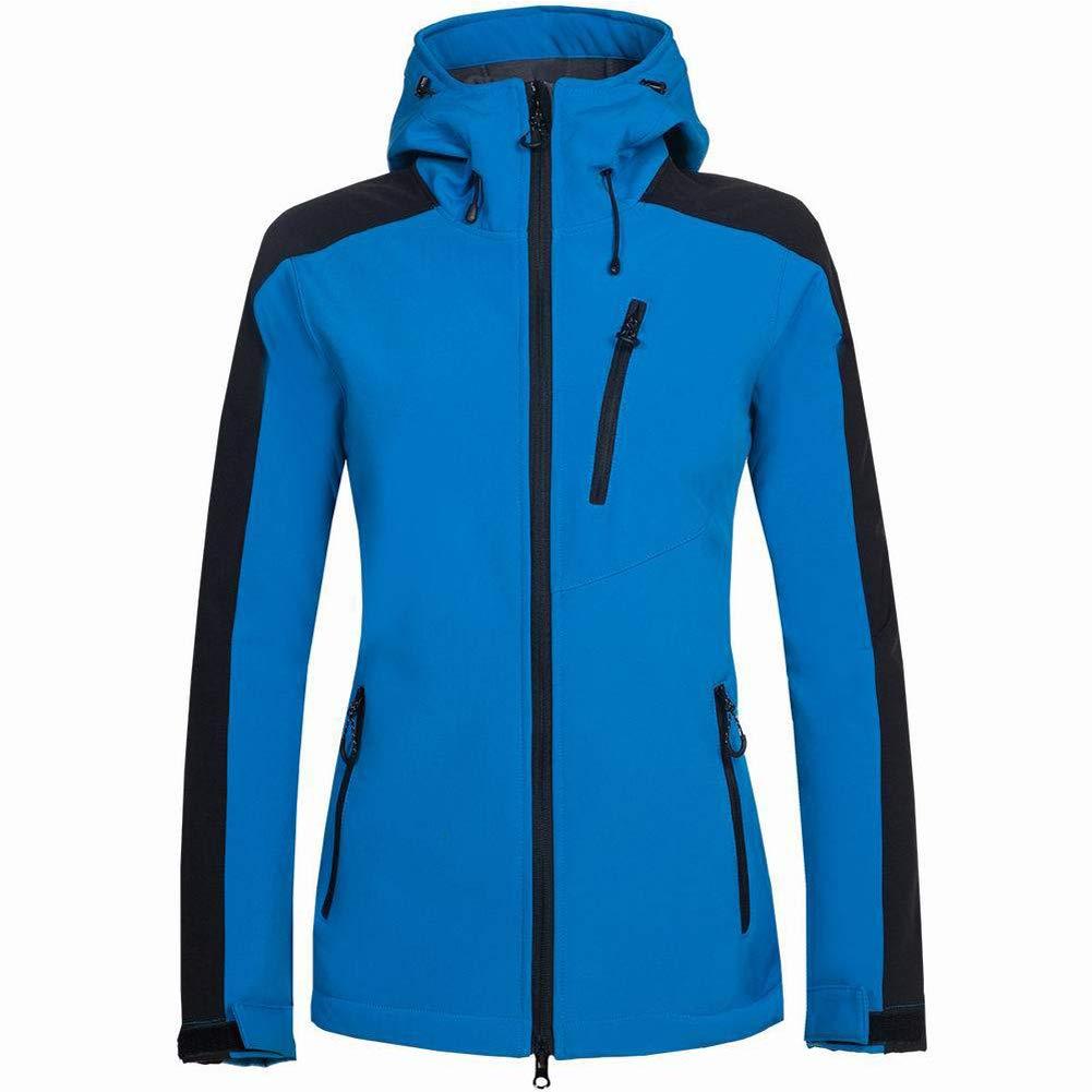 Blau S Frauen Softshell Jacke, Im Freien Kampierende Wandernde wasserdichte Winddichte Softshell-Mantel Mit Kapuze
