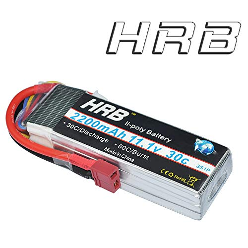 HRB 3S 11.1V 2200mAh 30C-60C RC Lipo Battery with T Deans Plug Connector for RC Airplane RC Helicopter RC Car RC Truck RC Boat Quadcopter -