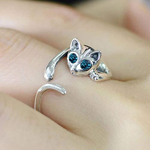 SEniutarm Engagement Love Rings Wedding Bands Women Cute Alloy Faux Gemstone Blue Eyes Cat Open Finger Ring Party Jewelry Gift for Women//Girl Finger Rings DIY Jewelry Gifts