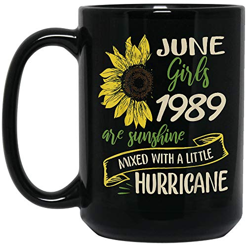 ZENMUGS - Sunflower June 1989 Girls Are Sunshine Birthday Black Mug, 15oz
