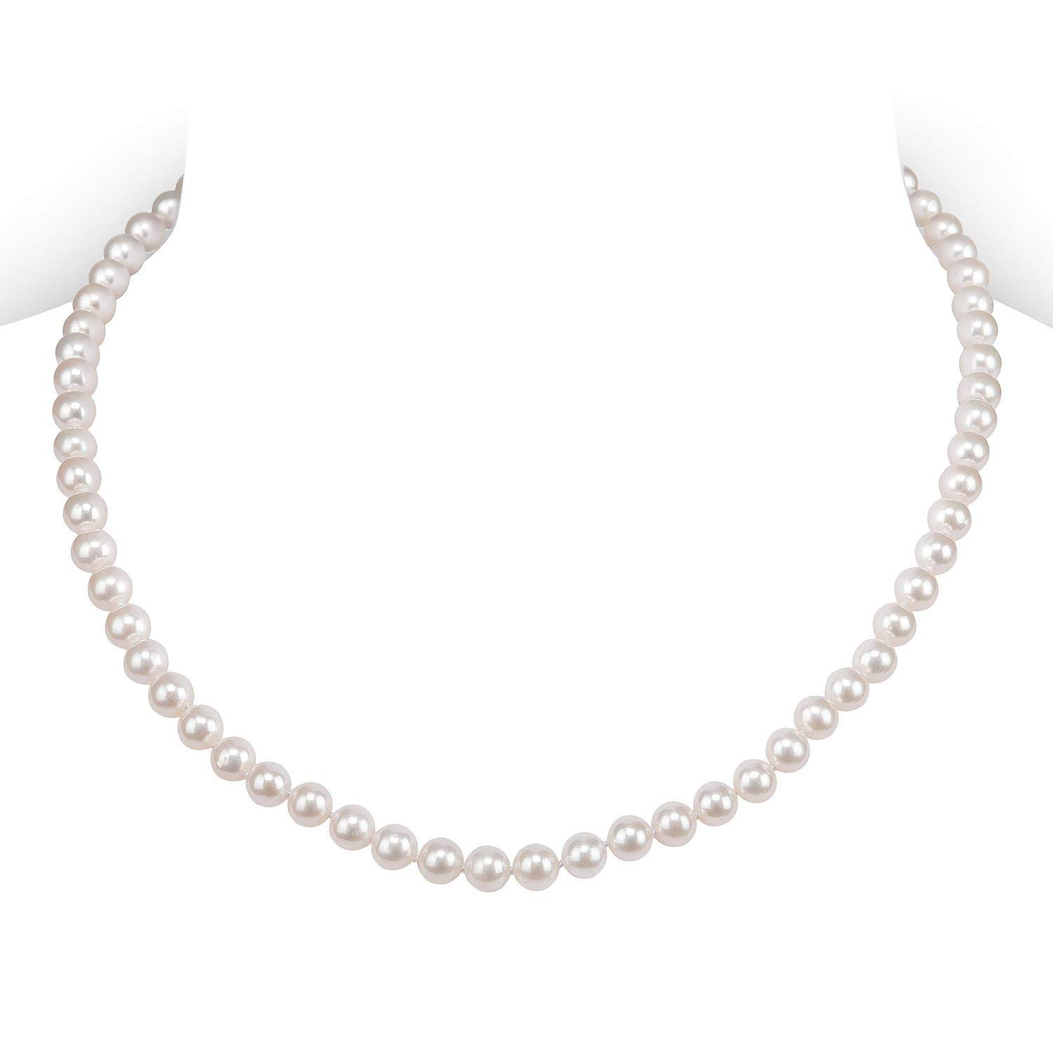 PAVOI Sterling Silver White Freshwater Cultured Pearl Necklace (16, 5mm) by PAVOI