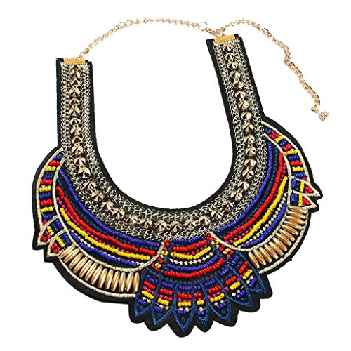 Ethnic Statement Necklace,Haluoo Bohemian Vintage Colorful Rice Beads Necklace Handmade Bib Necklaces Rero Exaggerated Beads Collar Necklace for Women Girls Wedding Jewelry (Multicolor)