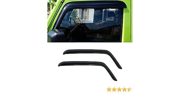 D/&O MOTOR 2pcs Front Doors Smoke Sun//Rain Guard Outside Mount Tape-On Vent Shade Window Visors For 07-17 Jeep Wrangler 2-Door
