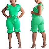 Ekaliy Women Casual Summer Short Jumpsuits Rompers Sleeveless Clubwear Green Medium