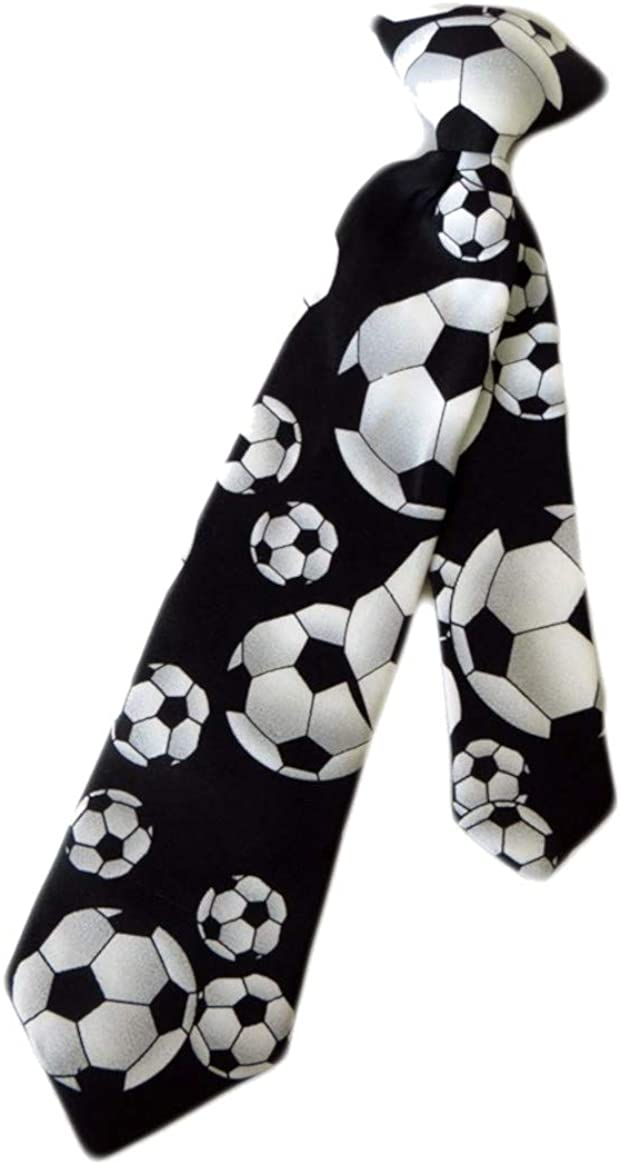 Boys Black /& White Soccer Balls 14 Clip On Pre-Tied Necktie Tie Neckwear