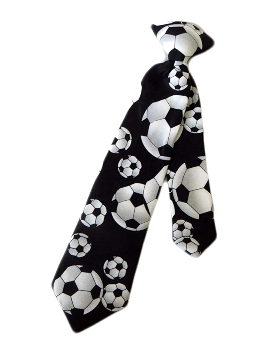 Boys Black /& White Soccer Balls 14 Clip On Pre-Tied Necktie Tie Neckwear