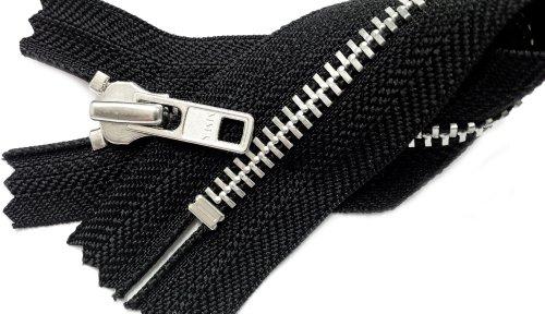 "ZipperStop Wholesale Authorized Distributor YKK® 7"" Metal Zipper Aluminum Teeth YKK #7 - Heavy Weight (Special) Closed Bottom Color Black (1 Zipper/pack)"