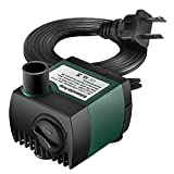 Homasy 80 GPH (300L/H, 4W) Submersible Water Pump, Ultra Quiet For Pond, Aquarium, Fish Tank Fountain, 48 Hours Dry Burning Water Pump with 5.9ft (1.8m) Power Cord