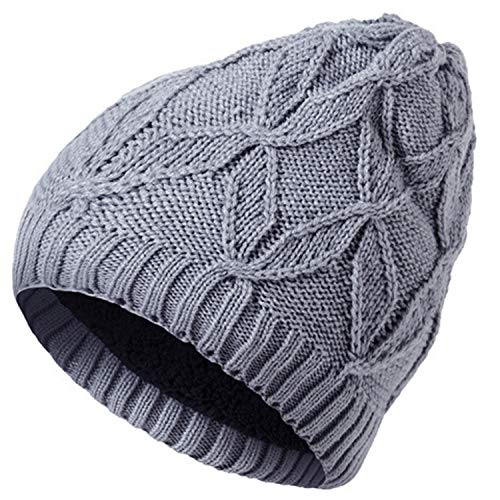 YSense Mens Winter Warm Cable Knitting Hats Wool Baggy Slouchy Beanie Earflap Skull Cap