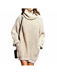Women'S Turtleneck Loose Large Size Pocket Knit Sweater Knitwear Coat S-Xl