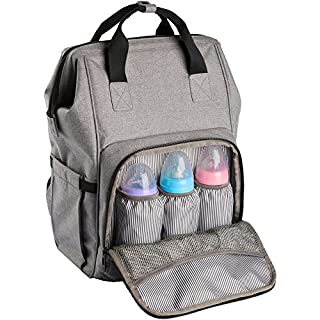 Backpack Diaper Bag Wide Open Design with Stroller Straps Changing Pad & Insulated Pockets for Both Mom & Dad (Grey-0911)