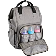 Ferlin Wide Open Design Baby Diaper Bag Backpack with Stroller Straps Changing Pad & Insulated Pockets for Both Mom & Dad (Grey-0911)