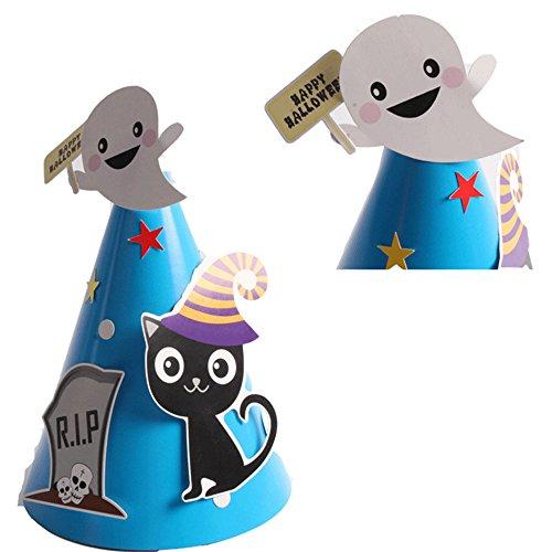 Halloween Paper Cone Hats-Cartoon Headgear Cosplay Costume Accessories 4 Pack (Blue (Cone Head Costume)