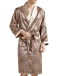 Mens Bathrobe Summer Kimono Satin Robe Sleepwear Long Sleeve