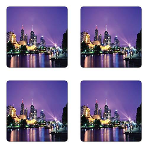 Lunarable Australia Coaster Set of Four, Melbourne Night Urban Mega City Modern Architecture Skyscrapers Colorful Sky, Square Hardboard Gloss Coasters for Drinks, Multicolor (Furniture Outdoor Melbourne Cafe)