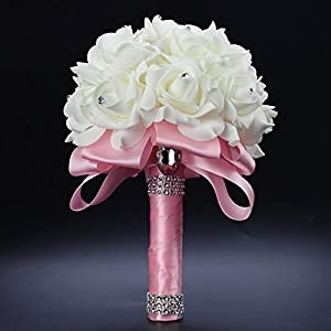 Antrader Artificial Wedding Holding Bouquet Flowers Roses Crystal Rhinestone Bridal Silk Throw Bouquet 2