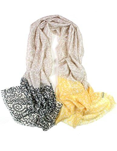 Dahlia Women's 100% Wool Scarfs, Wraps, and Shawls Lace Pattern, Tan