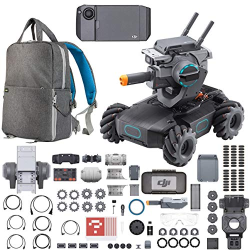 DJI Robomaster S1 Intelligent Educational Robot with Full HD 1080p Camera STEM Toy Bundle with Programmable Modules, Coding and Programming Language Learning and Part 17 Gamepad + Deco Gear Backpack