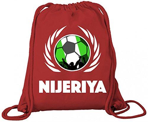 ShirtStreet Nijeriya Fanfest Fussball WM Bio Baumwoll Turnbeutel Rucksack Gym Bag Fußball Nigeria Red