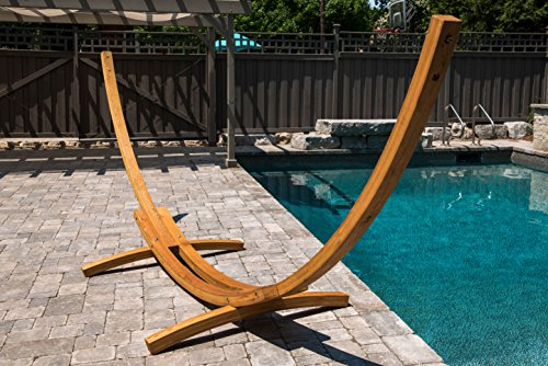 Vivere Solid Pine Wood Arc Hammock Stand, 15-Feet