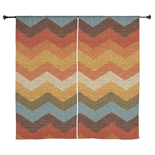 CafePress - Southwestern Burlap Chevron Zigzags Curtains - 60