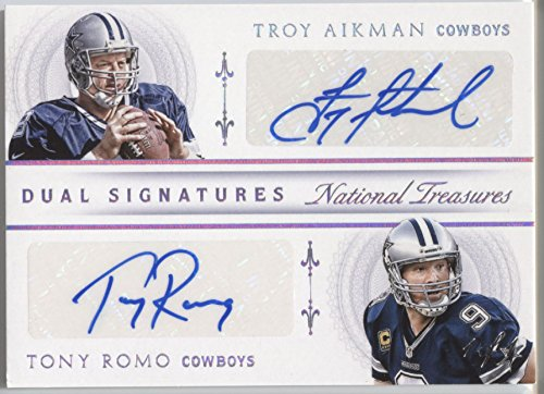 2015 National Treasures Troy Aikman Tony Romo NFL Dual Signatures AUTO RARE 1/1 Dallas COWBOYS RARE Autograph - Signature Football Aikman Troy