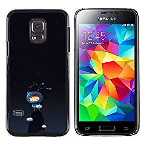 Plastic Shell Protective Case Cover || Samsung Galaxy S5 Mini, SM-G800, NOT S5 REGULAR! || Cute Bug Monster Black Dark Blue @XPTECH