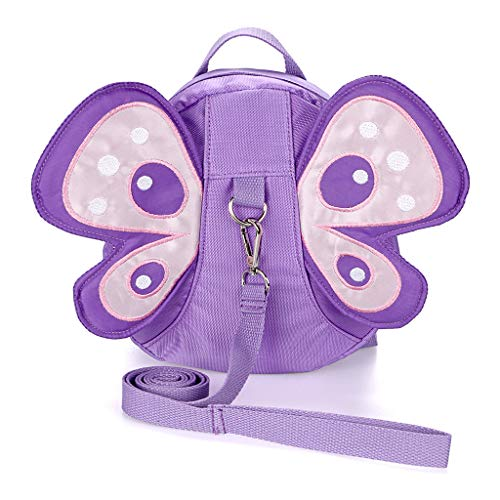 Hipiwe Baby Anti-Lost Backpack Butterfly Walking Safety Belt Harness Toddler Reins Strap with Leash (Purple) -
