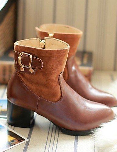 XZZ  Damenschuhe Damenschuhe  - Stiefel - Kleid   Lässig - Vlies   Kunstleder - Blockabsatz - Rundeschuh   Modische Stiefel - Schwarz   Braun 82cf0b