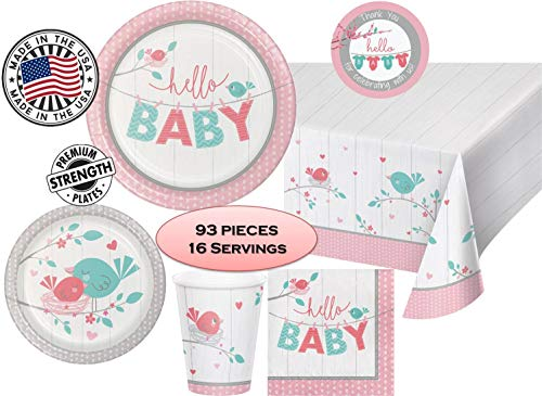 (Hello Little Birdie Girl Baby Shower Party Pack for 16 guests - Plates, Napkins, Cups and Tablecover - MADE IN THE USA)