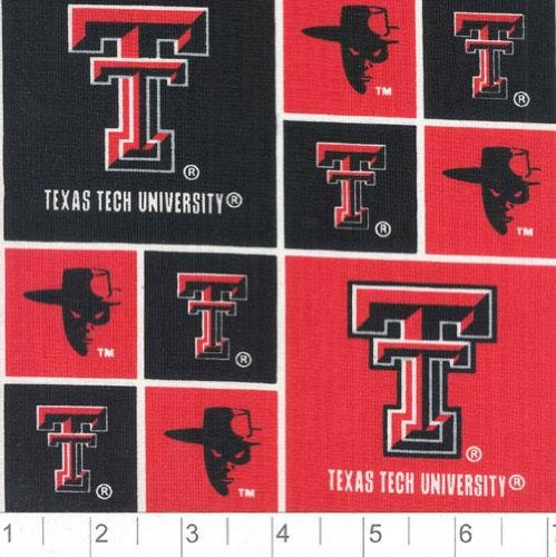Cotton University of Texas Tech Red Raiders College Cotton Fabric Print D663.18