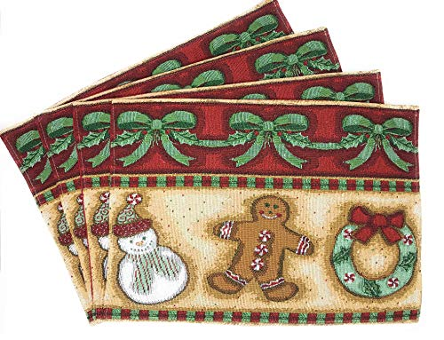 DaDa Bedding Gingerbread Sweets Placemats - Set of 4 Festive Christmas Holiday Tapestry - Cotton Linen Woven Dining Table Mats - 13