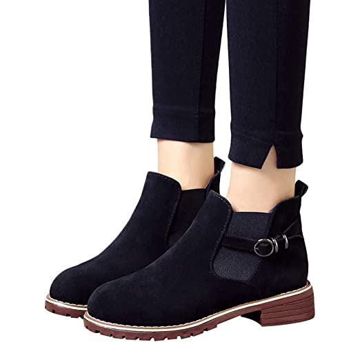 6b577b91e298 Amazon.com: Gyoume Women Boots,Winter Flat Wedge Boots Shoes Buckle ...