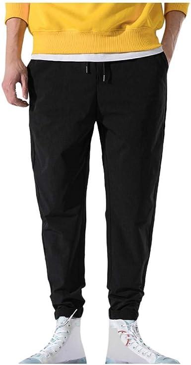 Pantalones Slim Fit Hombre Otono E Invierno Color Solido Pantalon Con Bolsillos Moda Anchos Pantalones De Trabajo Con Cordon Pantalones Haren Amazon Es Ropa Y Accesorios