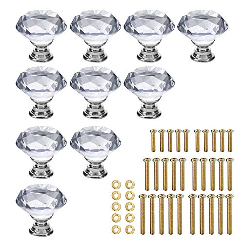 KEIVA 10pcs Diamond Shape Crystal Glass 30mm Transparent Drawer Knob Pull Handle Usd for Cabinet Drawer Cupboard Chest Dresser with 3 kinds of Screws (30mm, Transparent)