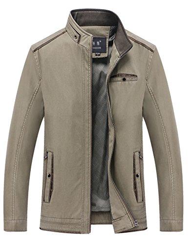 Springrain Men's Casual Slim Fit Stand Collar Cotton Jackets (Small, Light Khaki)