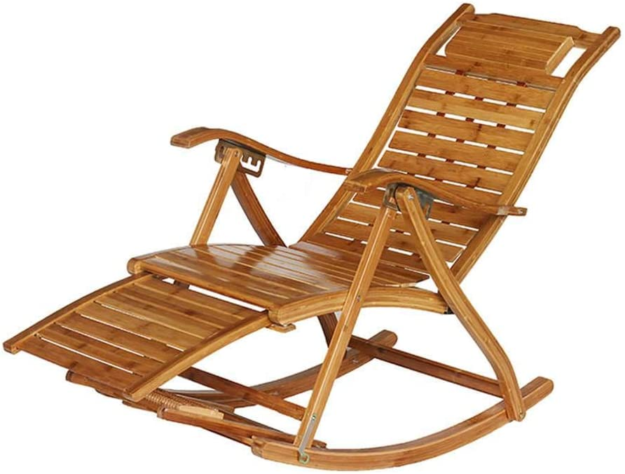 MO&SU Folding Rocking Chair, Portable 170Degree Adjustment Patio Chaise Lounger Recliner Recliner Garden Chair-C