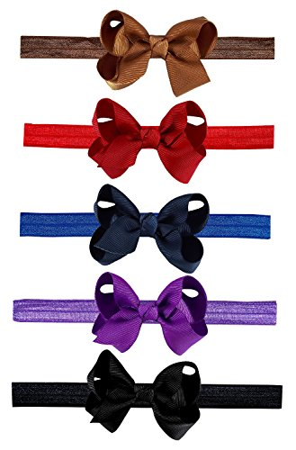 Interchangeable Baby & Newborn Bows and Headbands Set by ZELDA MATILDA (10 Pack) - Attach Bow to Super Stretchy Headband or Use Separately! Great For Babies and Kids - Boutique quality!