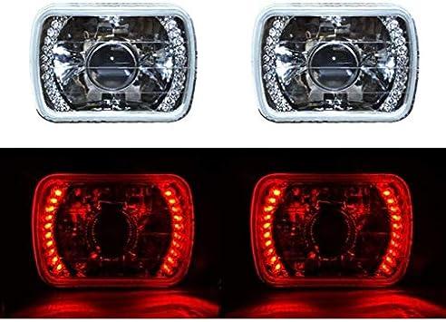 "4X6/"" Red LED Halo Angel Eye Headlight 6K 6000K HID Headlamp Light Bulbs Pair"