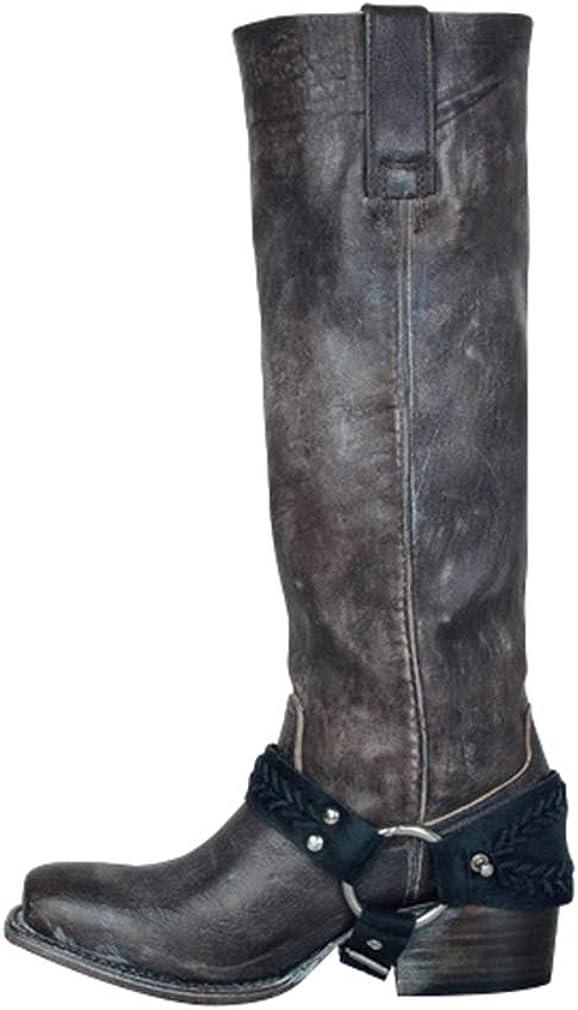 Couleur Unie Bottes Hautes Classique Boucle Bottes de Chevalier R/étro Loisirs Bottes Plates Noir//Marron 36-43 Bottes Femme