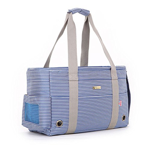 Miniwild Pet Soft Sided Carrier Airline Approved Dog Tote Bags Cat Travel Purse, Blue Stripes