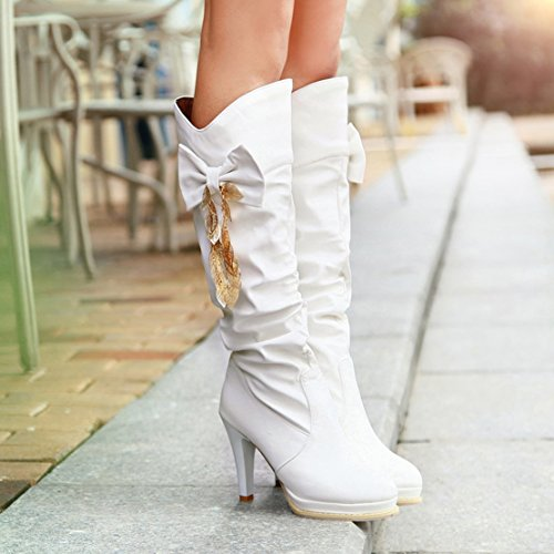 Knee Ladies High Cute With Shoes Slouch Platform Boots Knee White On AIYOUMEI Boots High Bows Women Heel Slip 0zqxnwOSZ