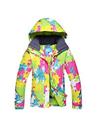 Women's Hooded Windproof Waterproof Printed Color Outdoor Raincoat Ski&Snowboarding Jacket