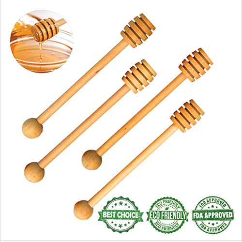 Handmade Wooden Honey Dipper Sticks by BIBI HONEY – 6,5 Inch Wooden Syrup Dippers – Honeycomb Sticks Perfect for Drizzling Honey | Maple Syrup | Chocolate | Caramel | and More – 4 Pack …