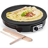 JYDMIX Crepe Maker Machine | Nonstick 12'' 1200W Electric Pancake Maker - Batter Spreader, Wooden Spatula for Roti, Blintzes, Eggs, Dosa, Lefse - Temperature Control, Portable, Easy Clean