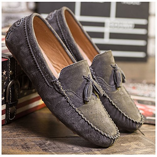 Boat Flats Shoes Slip On Gray Driving Loafers Men Casual Walking Suede Moccasins SenLu s Dress Rubber P60wTI8x