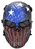 Outgeek Tactical Airsoft Mask Full Face Mesh Mask Skull Design Mask for Cs Games…