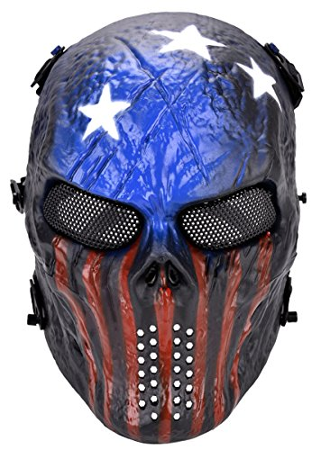 OUTGEEK Tactical Airsoft Mask Full Face Costume Mask Awesome Mask(Patriot)