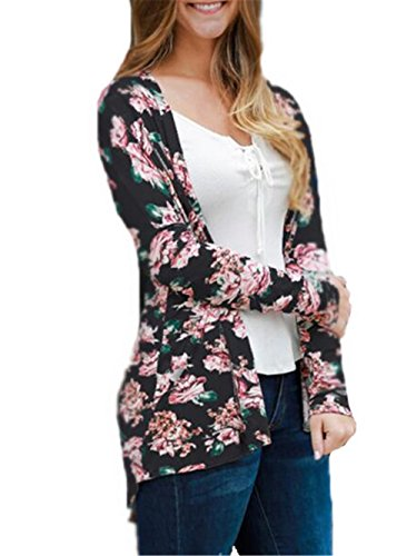Giacca Eleganti Black Fit Moda Casual Cappotto Donna Jacket Cappotti Lunga Stampa Floreale Giacche Manica Aivosen pd8Tp