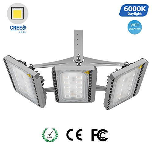 STASUN LED Flood Light Outdoor, Super Bright 150W Security Lights with Wide Lighting Area, Cree LED Source, 13500lm, 6000K, Adjustable 3-Head, Waterproof Floodlight by STASUN